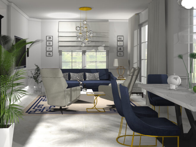Dom w odcieniach niebieskiego